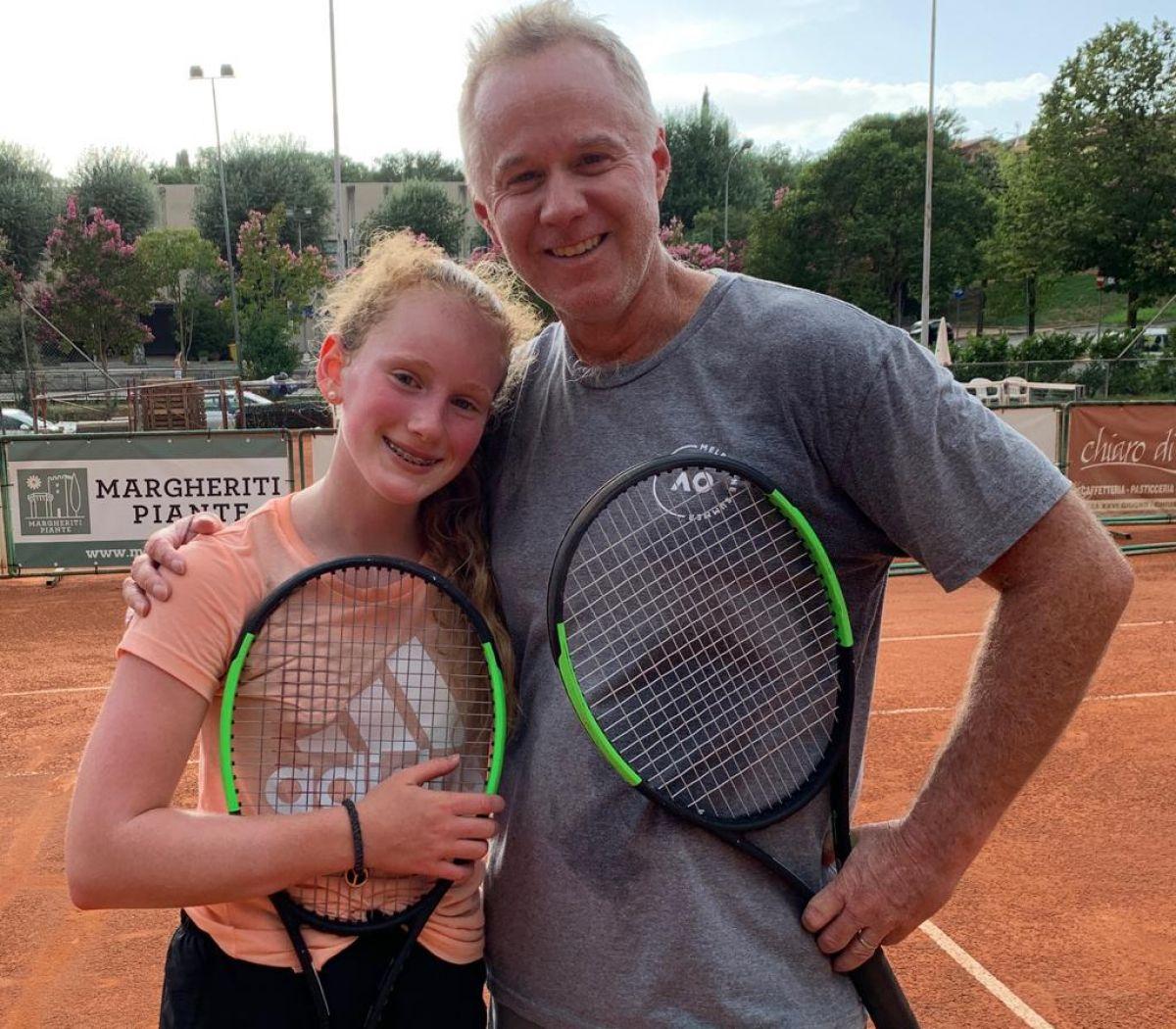 Patrick McEnroe al Ct Chiusi con la figlia Victoria